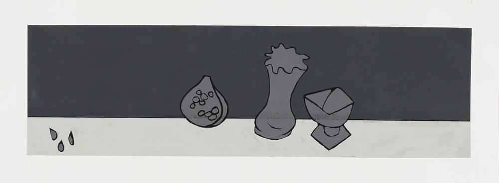 Monochrome Collective : Gary Kret : Pomegranate Compote and Vase : Acrylic on paper :  4 x 14.5 in. : $850.jpg