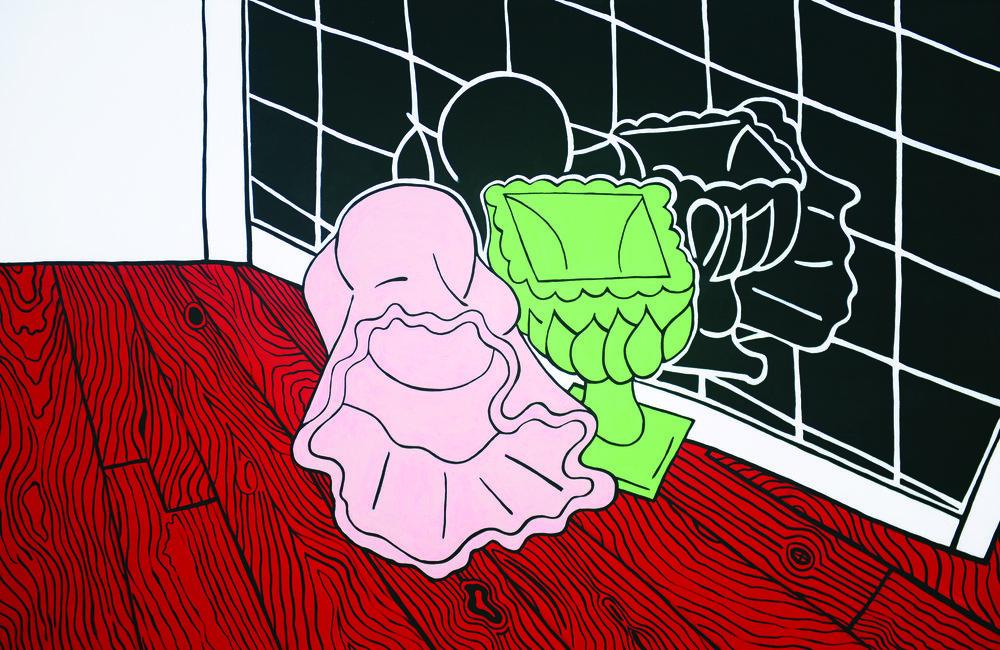 Monochrome Collecvite : Gary Kret : Still LIfe wtih Red Oak Floor & Black Mirror : Acrylic on Canvas : 37 x 57 in. : $7,200.jpg
