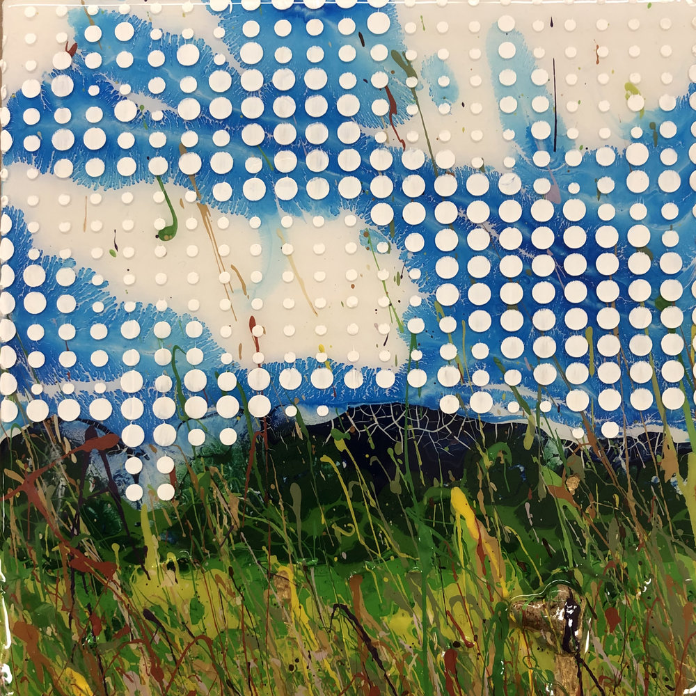 Sean Christopher Ward and Charles Baughman Collaboration - Field of Dots - Acrylic and ArtResin on Wood Panel - 8x8x1.5 - 2018 - 250.jpg