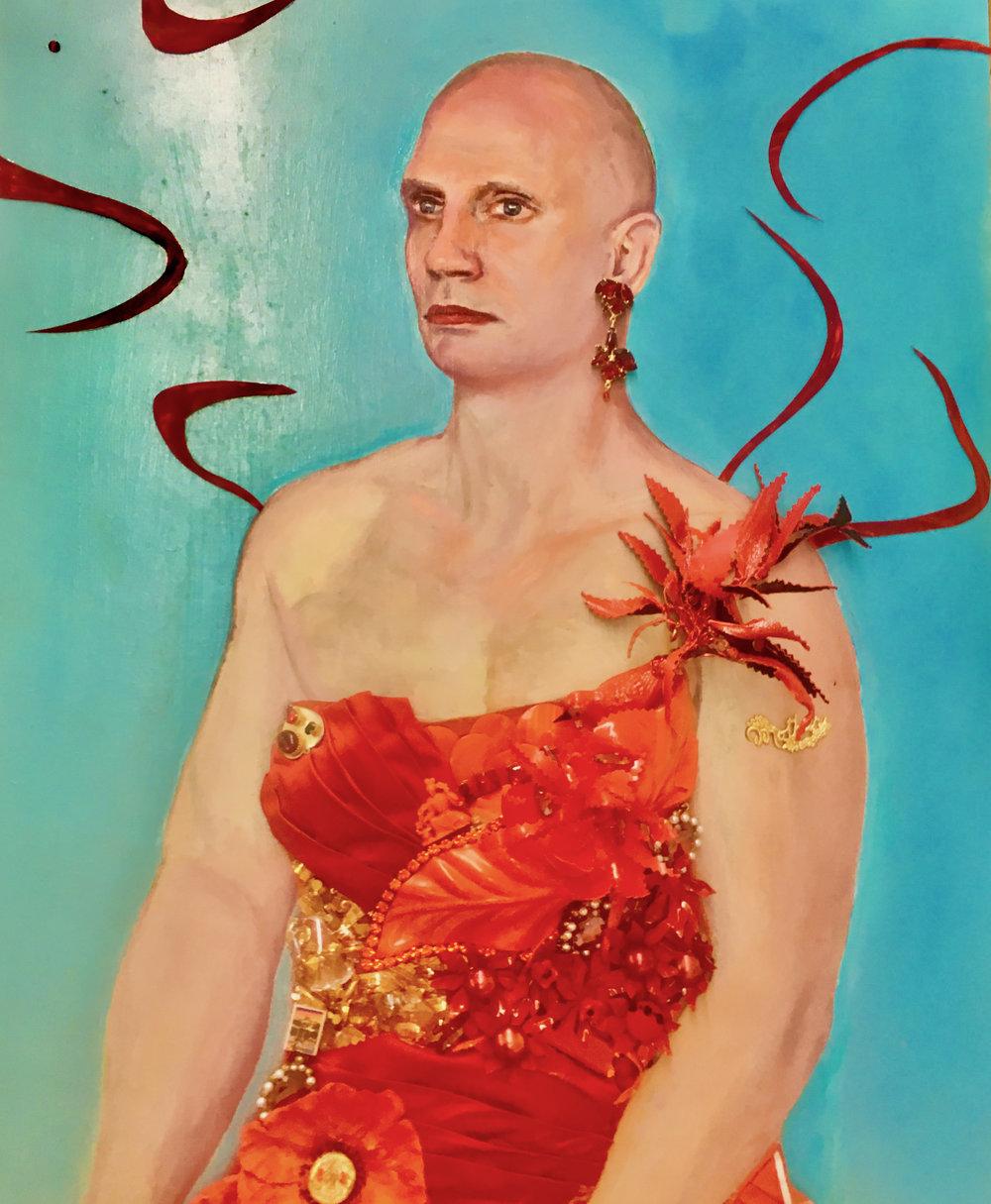 StrosbergMandel-TheMasseur-Enamel paint and mixed media-24 x 30 in.-$9,990.jpg