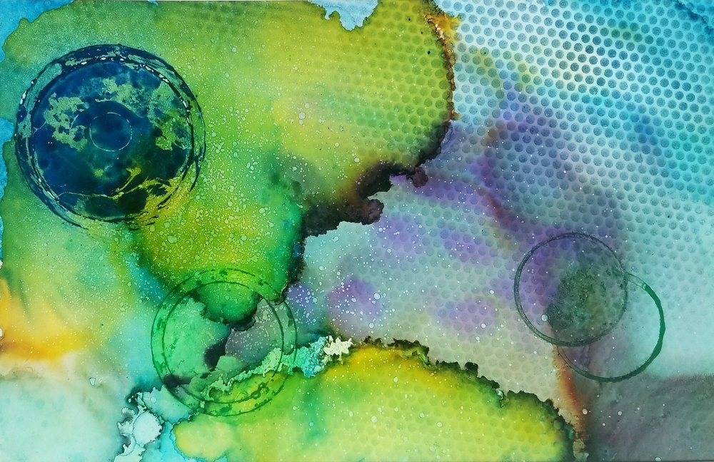 Sug. O_Shen - _Cook Island_,  alcohol ink, charcoal, water from the source,  on Yupo_ 25 x 18, 2018- $1295..jpg