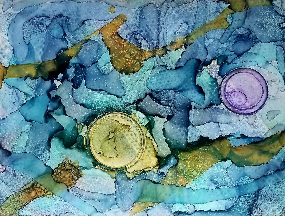 Sug. O_Shen - _Los Tres Ojos (DR)_, alcohol ink, charcoal, water from the source, on Yupo_ 36 x 28, 2018- $2295..jpg