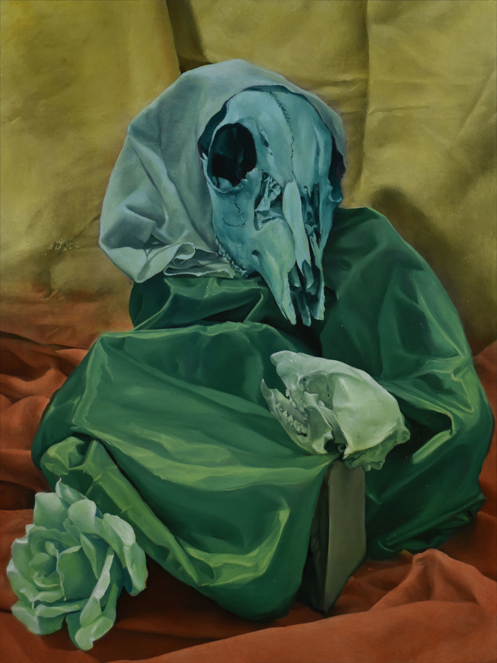 """- There is no painting better suited for explaining this phenomenon than Frosted Glasses (Editor's note: this work found a wonderful new home at Superfine! Miami). The fabric draped around the large blue skull creates the illusion of a person wearing a headscarf and a robe. Two shoulders take shape, as does the suggestion of an elbow and a knee. It seems as if this bony being is sitting, hunched over, with one leg bent. The second, smaller skull, facing the large blue one, completes the composition. Suddenly, we are looking at a Pietà—an image of the Virgin Mary and the baby Christ.Reed describes the creatures he brings to life as """"perceived beings, imperfectly evoked by an arrangement of objects, [or] a certain angle of the light."""" The artist goes on to explain that the creatures' humanity is a projection of the viewer—and the artist's—psyche. What this means is that we choose to see Reed's creatures as alive, and use a ray of light or a religious image to support our claim."""