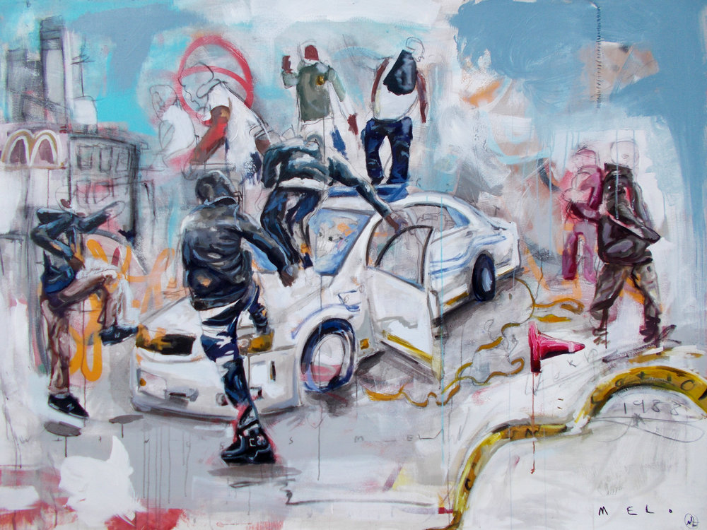 Mel Wisewood-Riot-Oil,Acrylic, Spray paint,-48x36-2016-$3,000.jpg