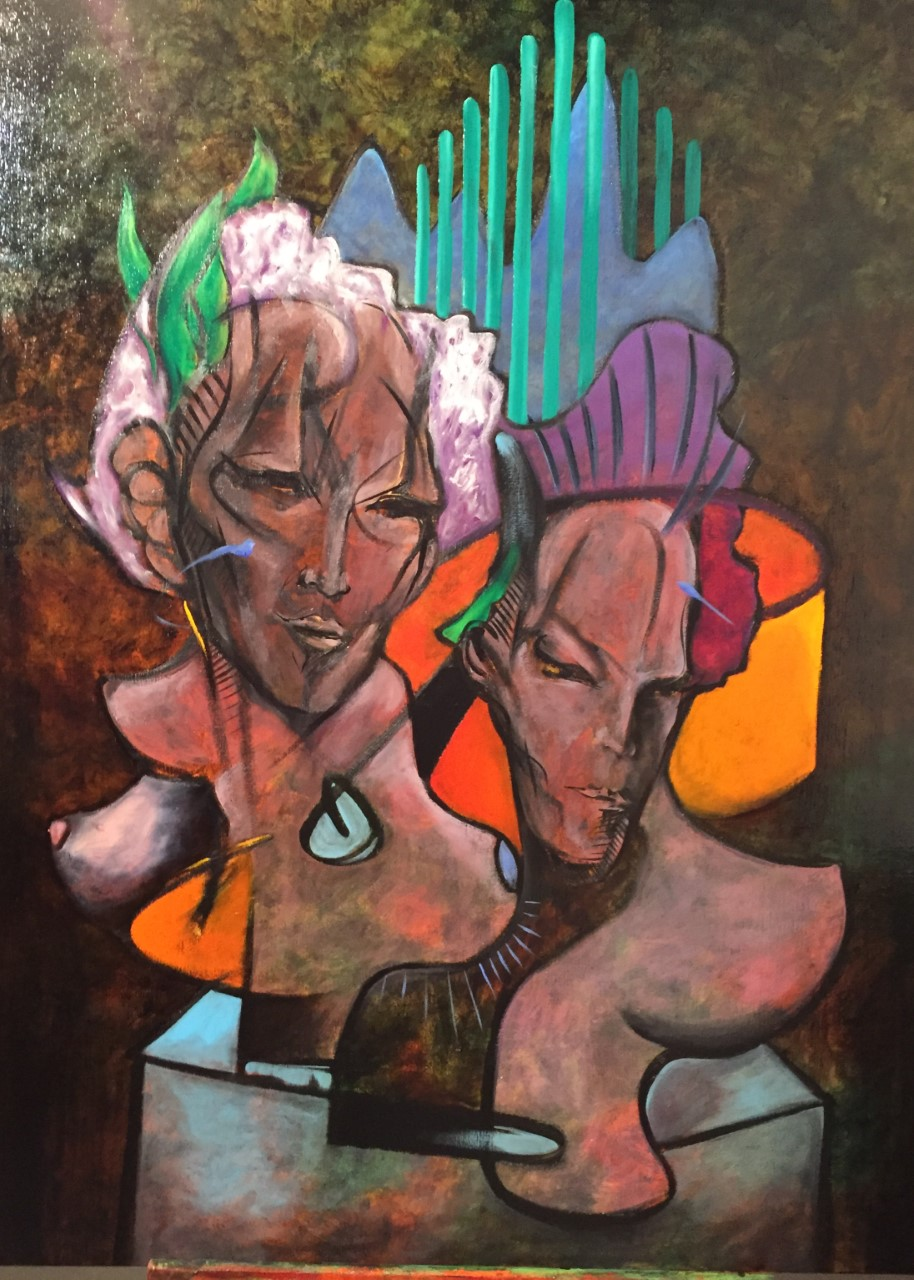 Two figures out of space oil on canvas 38x51in 2018 2900 dol.jpg