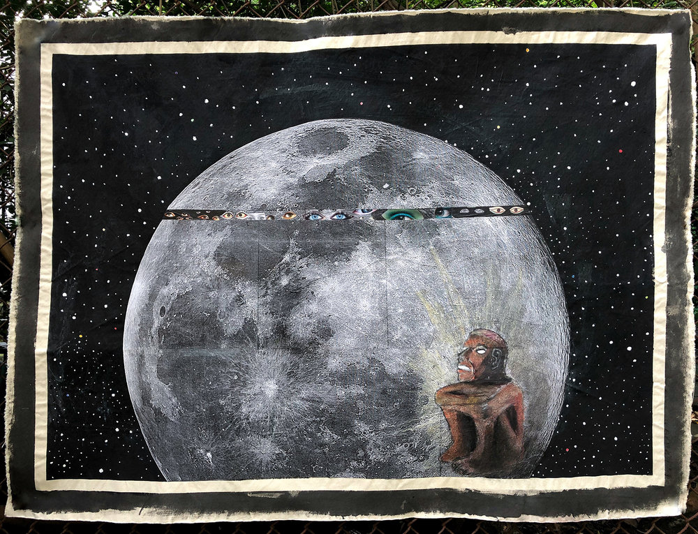 """- Like the circle in God and Monster, the moon in Ancestors was in the artist's possession for quite some time before he discovered its purpose. It always contained, as the artist says, """"echoes of symbols and ancient lessons about balance in the universe."""" He just needed to wait for the moment to use these symbols and lessons and tell a cohesive story.Inspiration hit this summer, when he gave in to intuition and let the voice of his ancestors influence his making."""