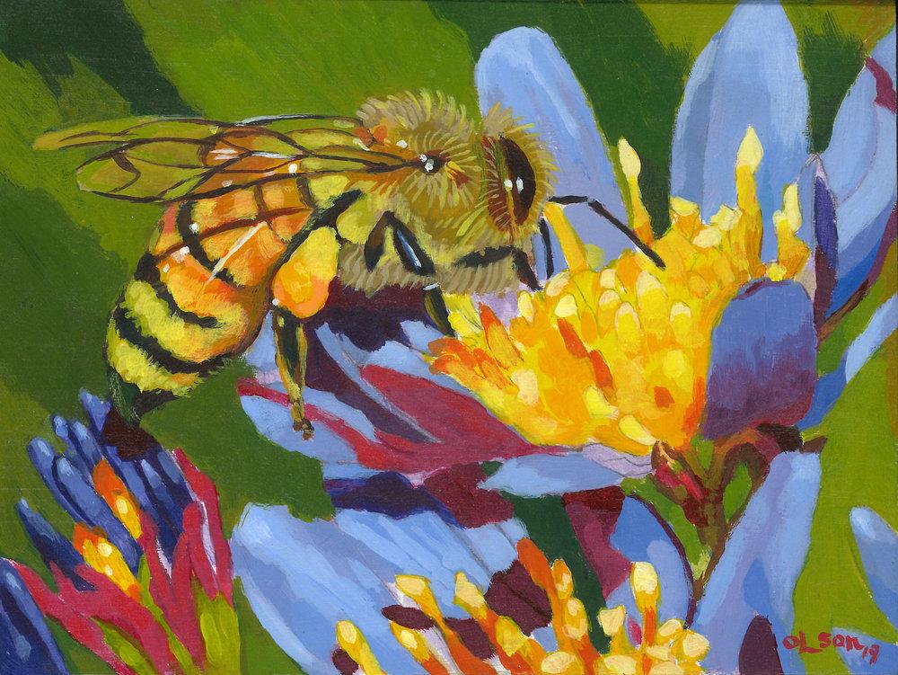 Christopher Olson-Gathering Honey-Acrylic-6x8in-2019-$350.00.jpg