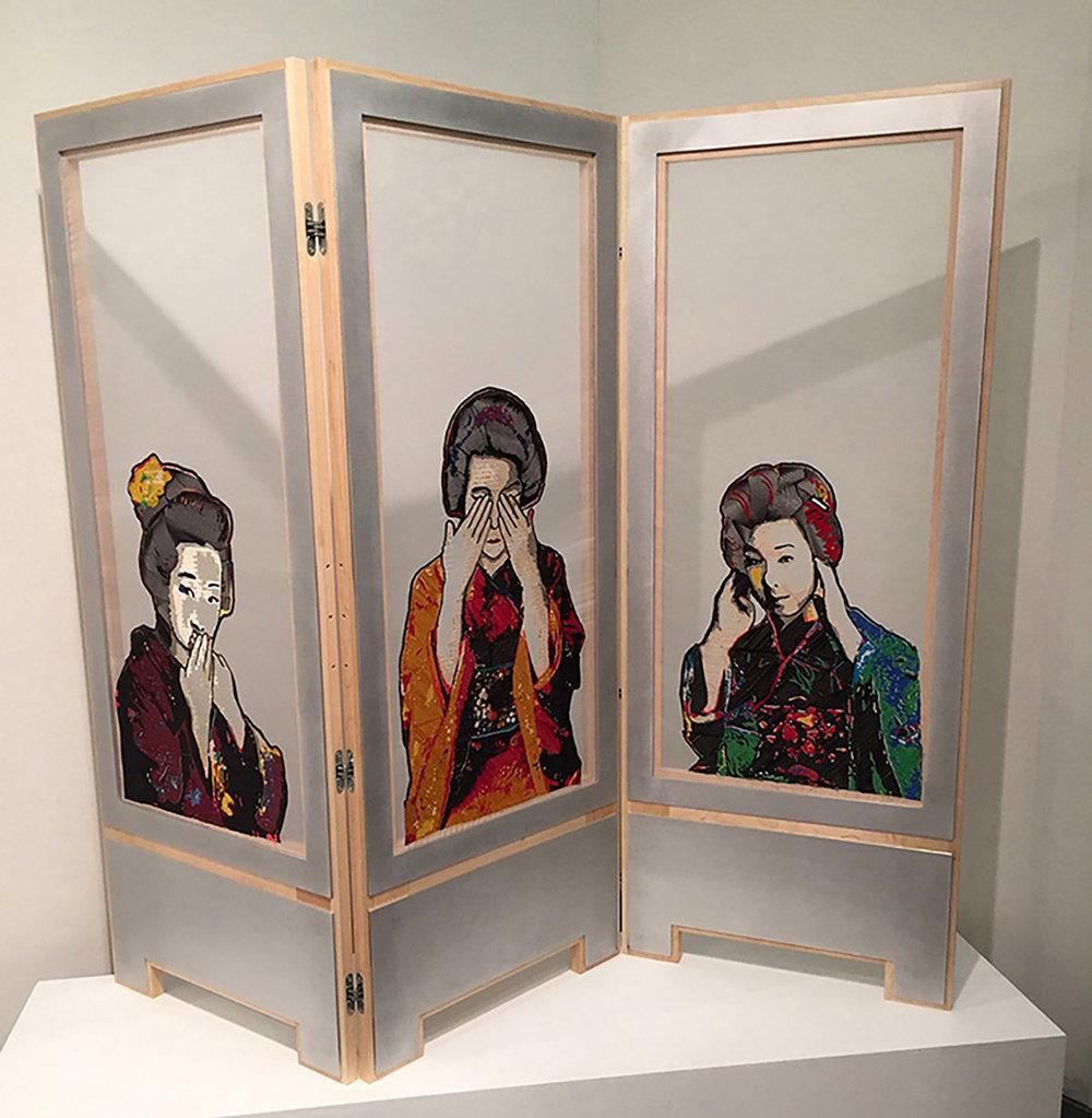 "Blair_Martin_Cahill_SeeNoEvil_embroidery_6' W X 5' H X 3"" D_2016_$7500.jpg"