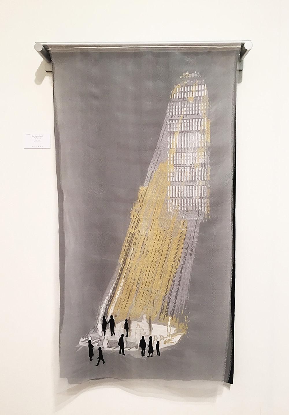 "BlairMartinCahill_The_Terminal_embroidery and metal_26""W X 4' H X  6""D_2017_$2500.jpg"