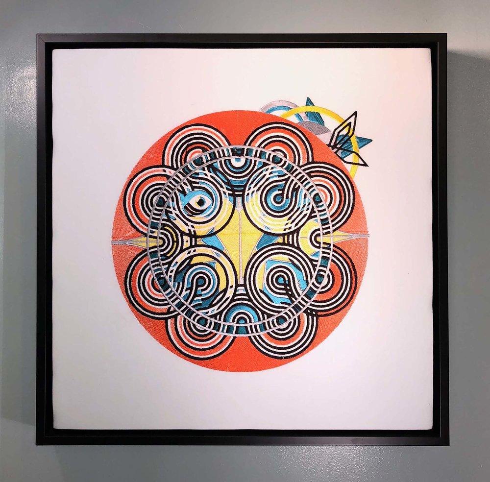 """BlairMCahill_Oriole_embroidery_18"""" X 18"""" X 2""""_2017_$800.jpg"""