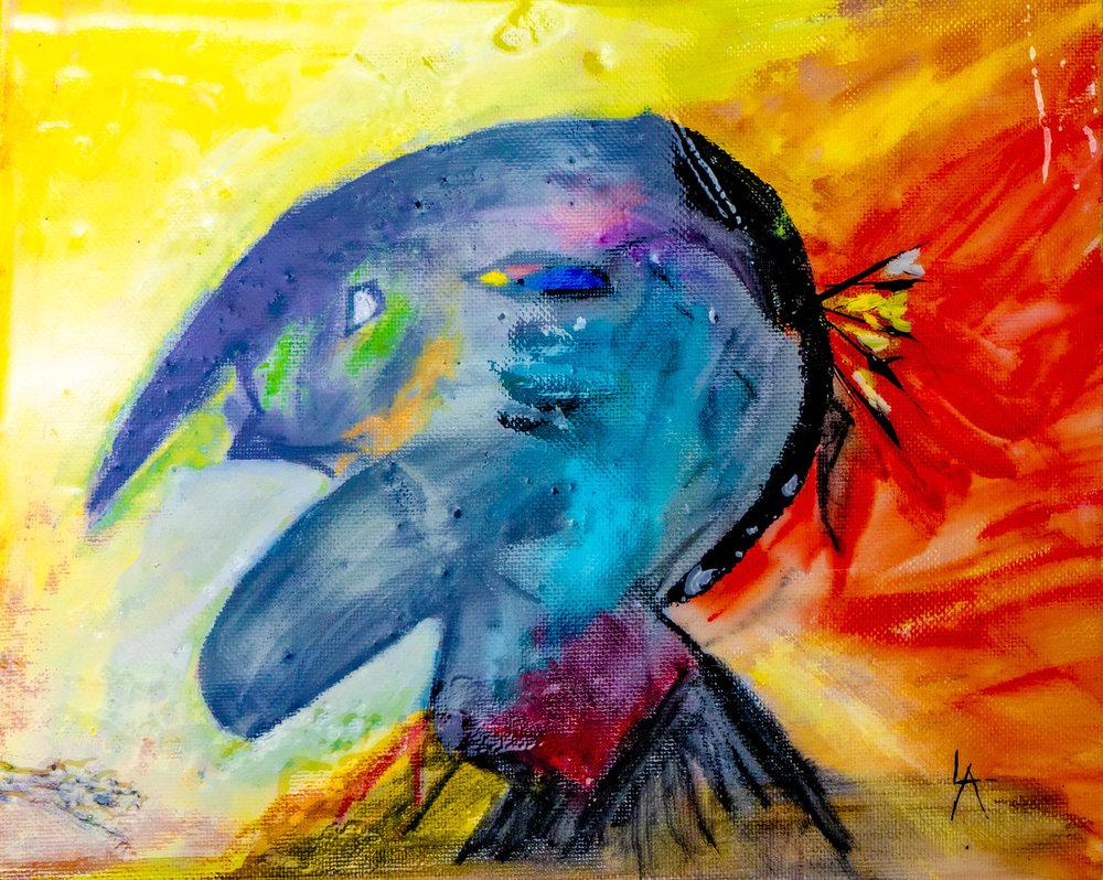 Louis Angel_Fire Side_8_x10_ Canvas_Watercolors_Acrylic_Resin _2019_$250.jpg