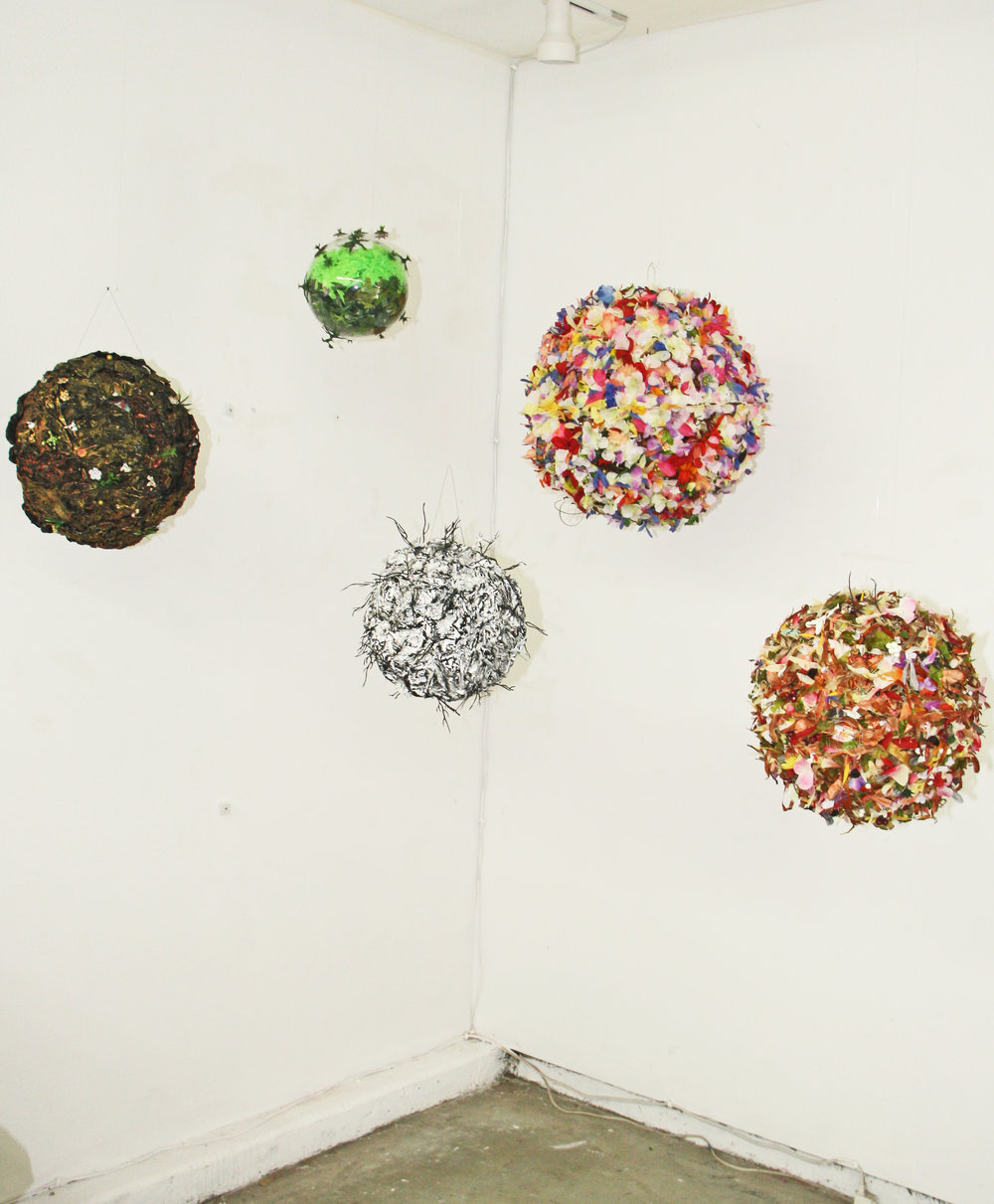 Breslaw, Spheres of Influence, 5 pce installation, dimensions variable, mixed media,2018  $9700 .jpg