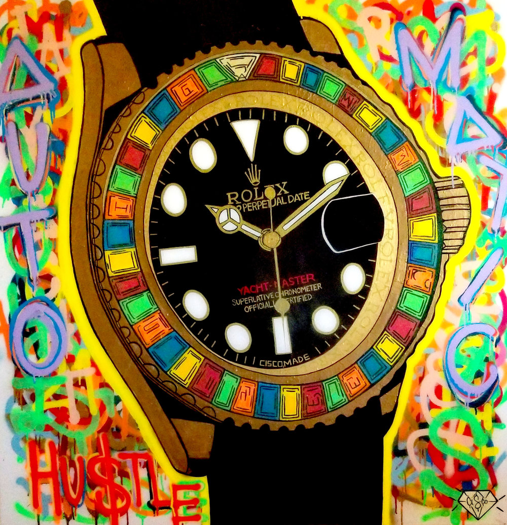 Cisco Lopez Jr Art_Cisco_Rolex_48inx48in_Acrylic On Gallery Wrapped Canvas_Edition 1of1_2018_$3500.jpg