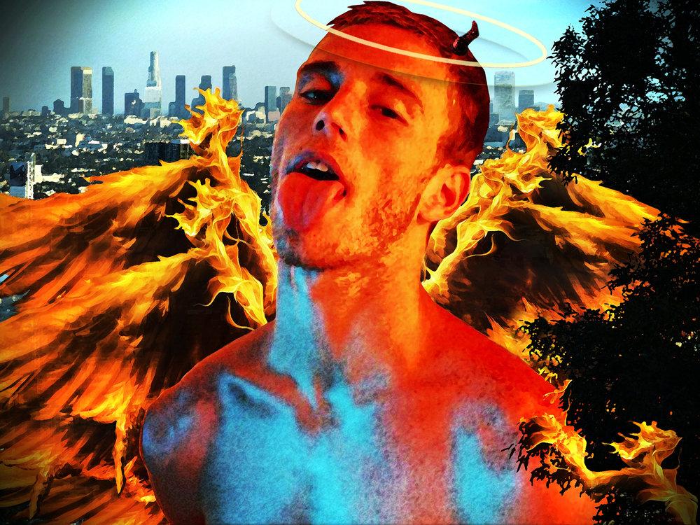 John Waiblinger-Flaming Angel-Digital-Art printed on Aluminum-14Wx11H-2014-$350.jpg