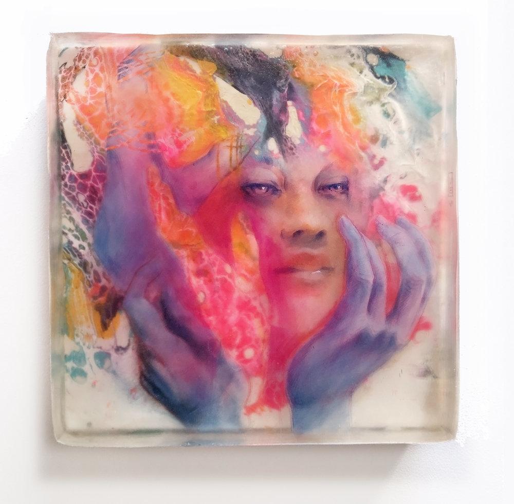 Corey Helford Gallery - Marc Scheff - Glorious - Mixed Media and ArtResin - 12x12x3 - 2019 - $2000.jpg