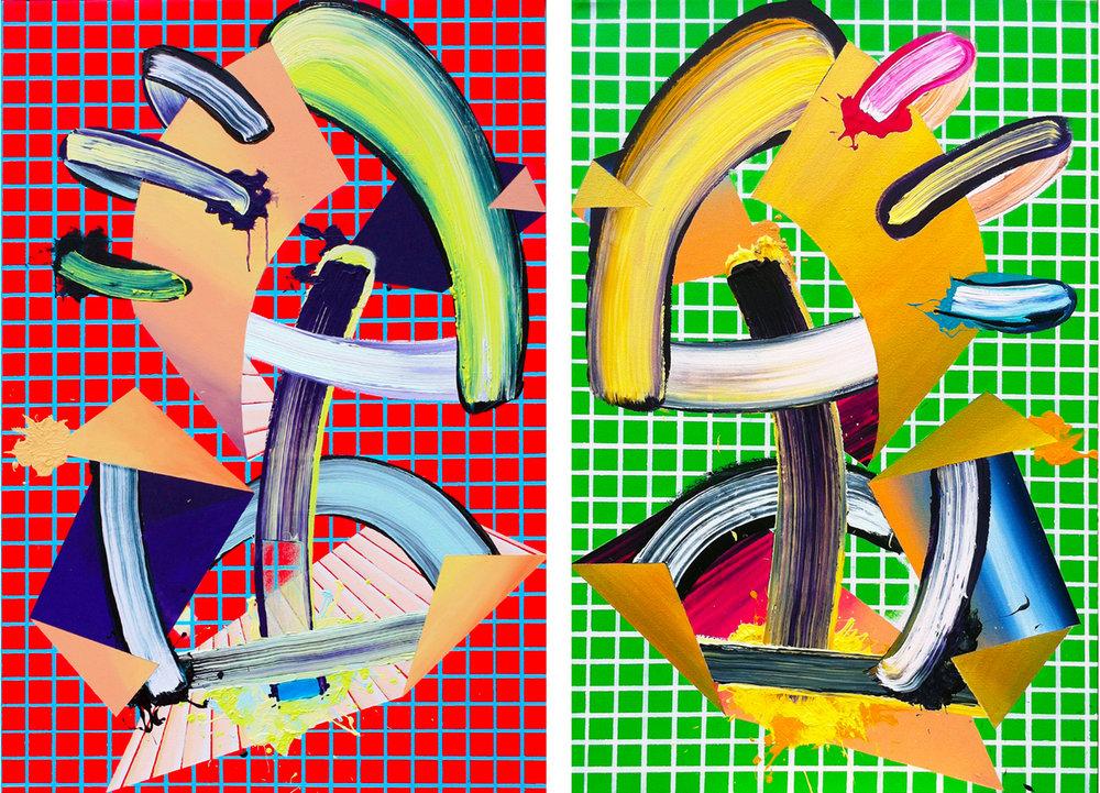 MattSheridan_GetAGrip+CarryABigStick_Paintings_50x34_each_2015-6_$2750each_$4500asDiptych.jpg