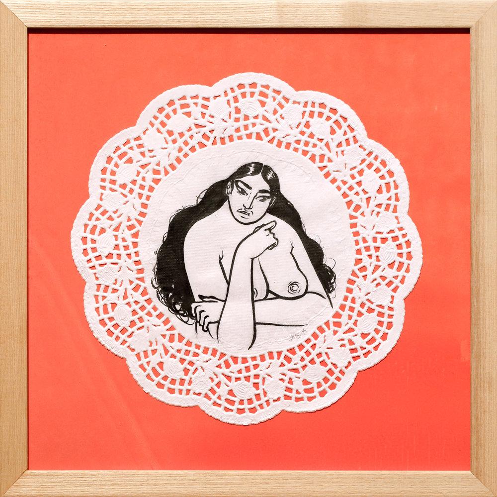 Paradigm Gallery - Jasjyot Singh Hans - Tea _ Shade I - Ink on doily mounted on screenprint - 13.25 x 13.25_ - 2018 - $250.jpg