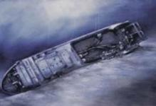 artist's rendering of a shipwreck resting on the seafloor