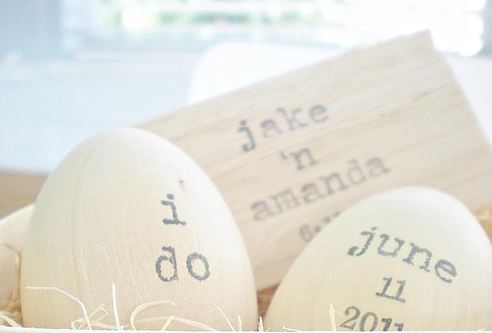 "indobay wedding ""i do"" handprinted wooden eggs personalized keepsake"