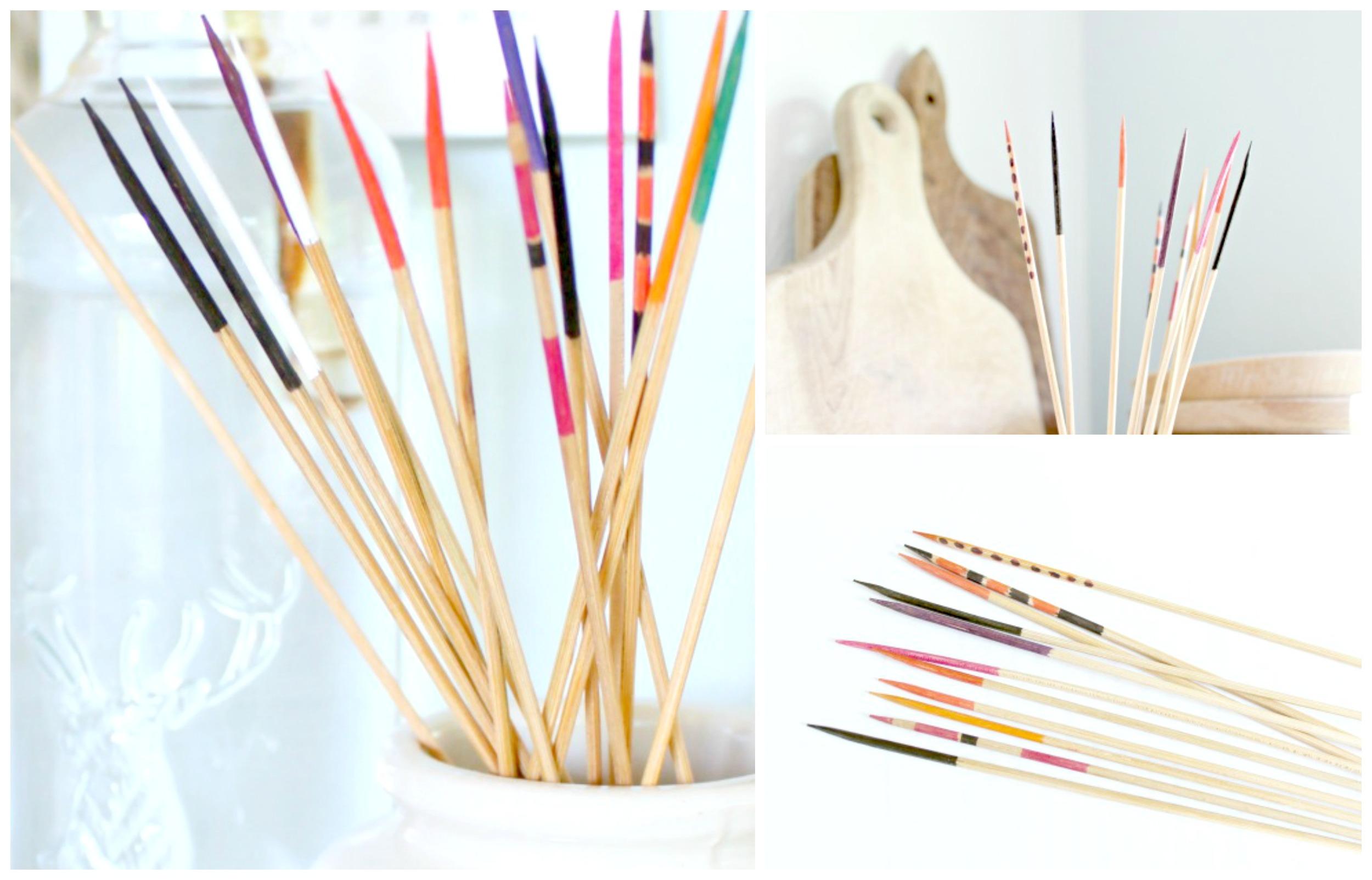 Color-dipped wood sticks DIY