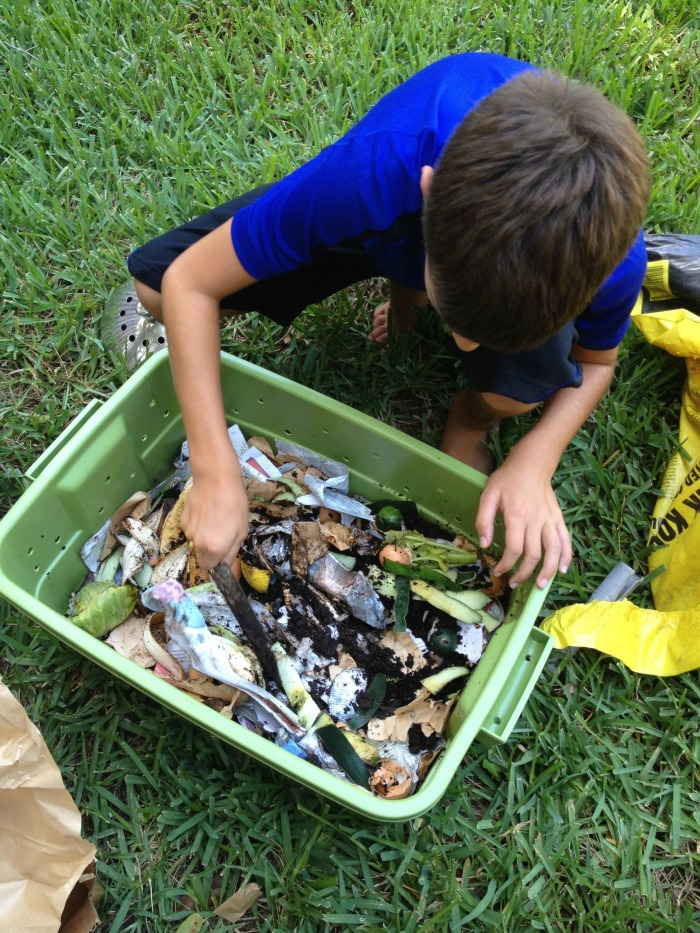 Making our DIY worm compost bin.
