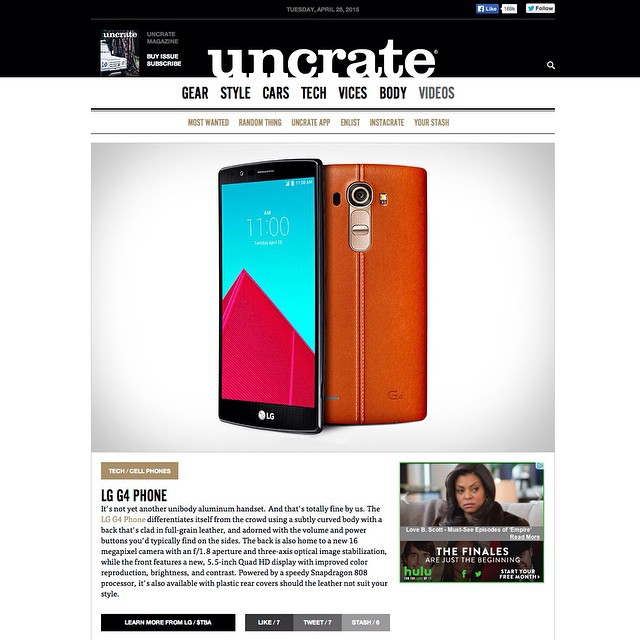 Our awesome retouching of the LG G4 is on Uncrate (@uncrate)!    For LG  (@lgmobileglobal)    HOUSEtribeca.com  photo-retouching house      #photo #photoshoot #photography #photographer  #style #styling #model #lg #g4 #phone #computermodeling #retouch #retouching #housestudios #nyc #newyorkcity #editorial #advertising #design #designer #clean #leather #snapdragon808 #ad #android #smartphone