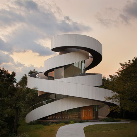verbnoun: Intertwining staircases spiral around the glazed core of Hiroshi Nakamura's Ribbon Chapel