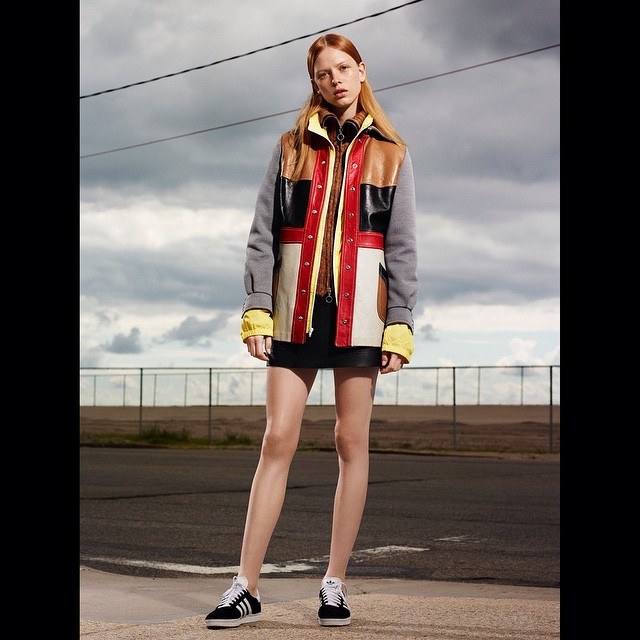 Dani Witt (@daniwitt) photographed by @dariocatellani for Exit Magazine #housestudios #house #nyc #newyork #editorial #sky #clouds #storm #exitmagazine #stripes #fashion #fashionshoot #designer #coat #magazine