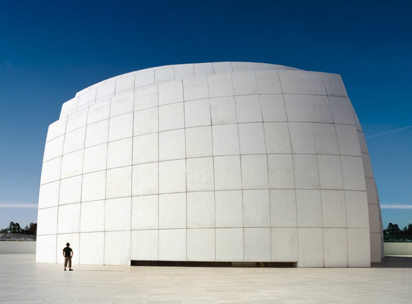 stevefreihon :     photo of me….by my friend Scott Frances   Jubilee Church, Rome, architecture by Richard Meier   photo:  Scott Frances     micro-Steve in Rome