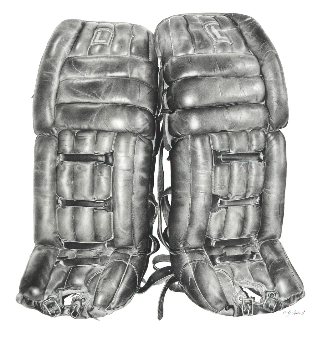 Charcoal Drawing of Vintage Goalie Pads