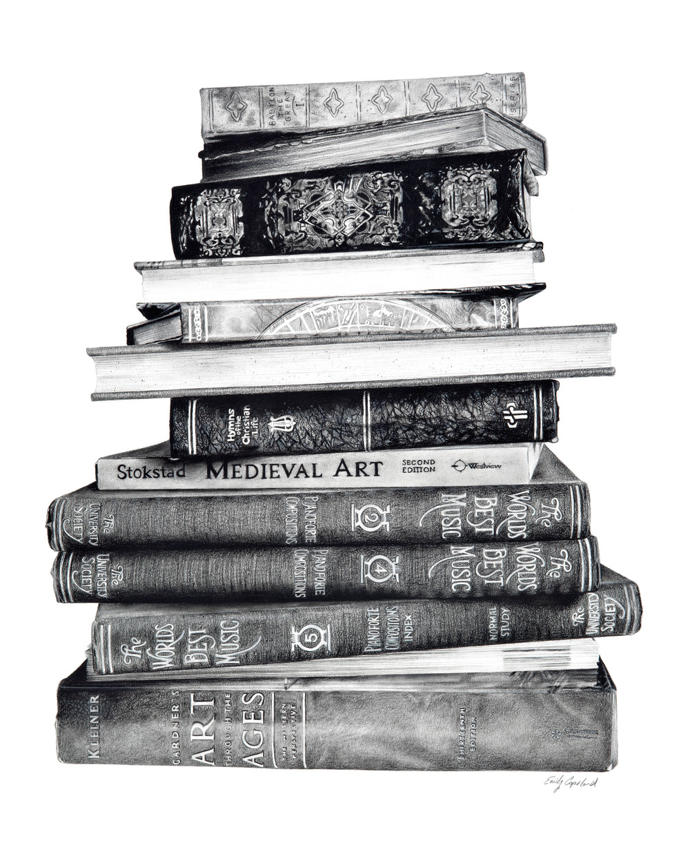 Charcoal Drawing of a Stack of Books
