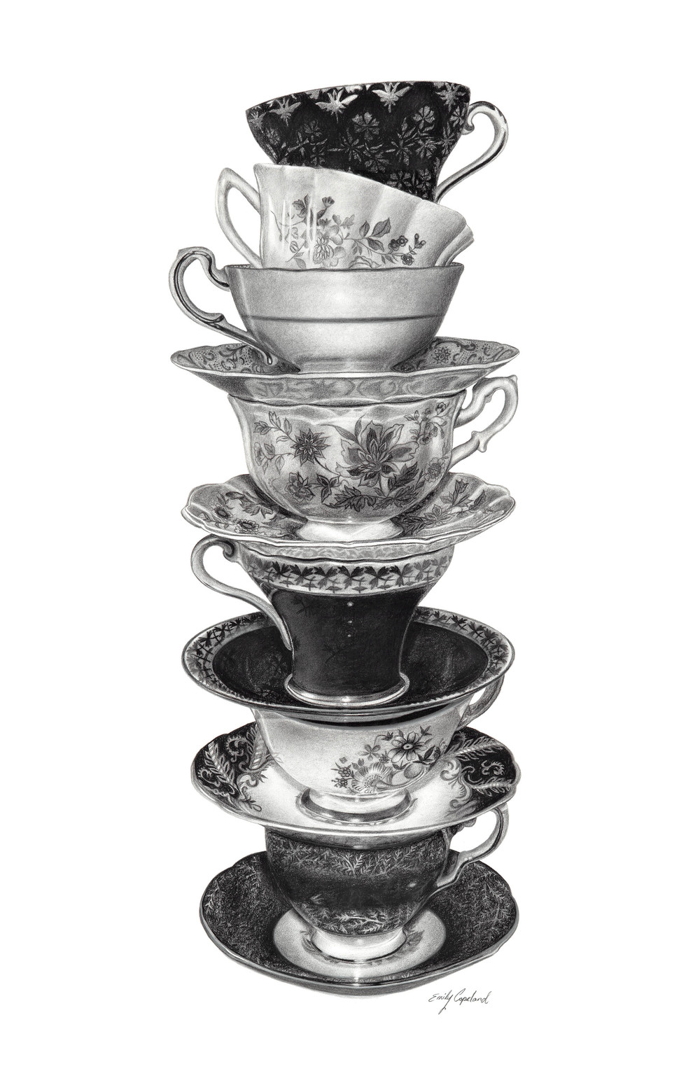 Charcoal Drawing of a Stack of Teacups