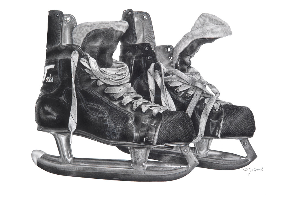 Charcoal Drawing of Vintage Hockey Skates