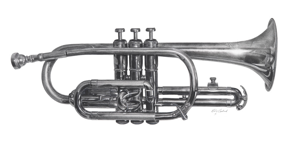 Charcoal Drawing of a Trumpet