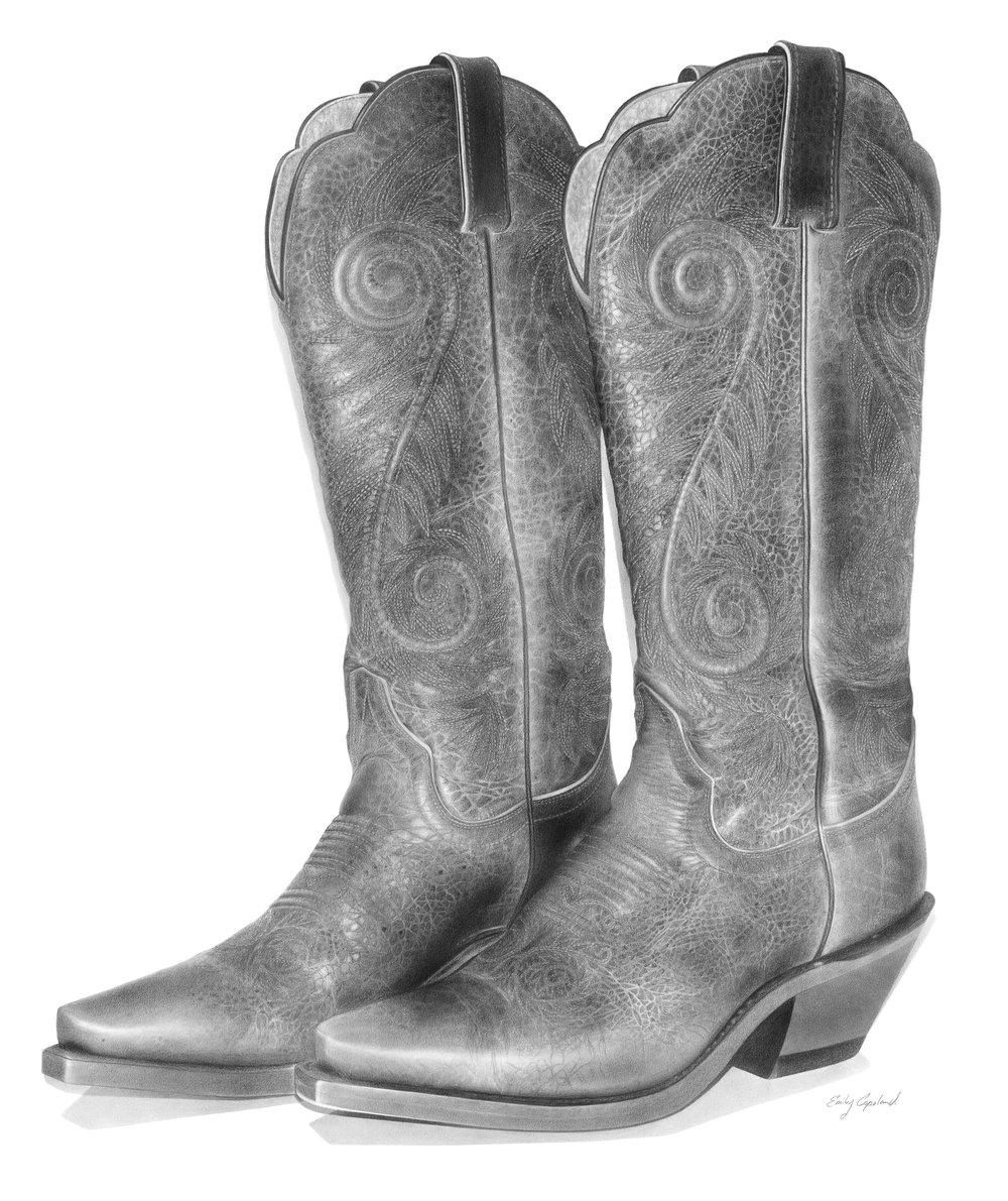 Charcoal Drawing of Vintage Cowboy Boots