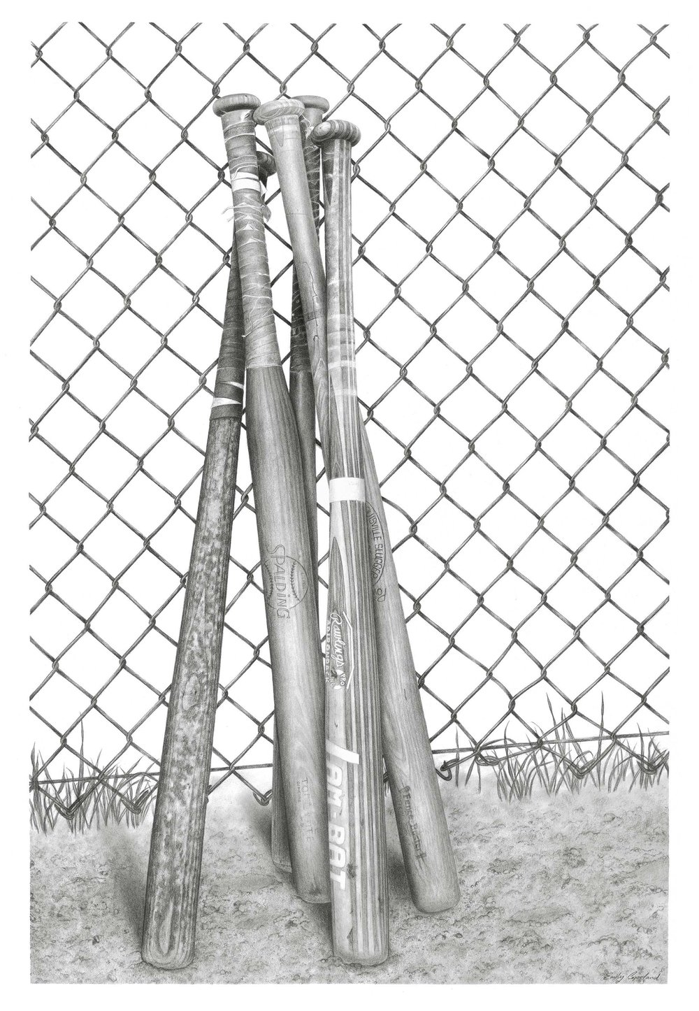 Charcoal Drawing of Vintage Baseball Bats
