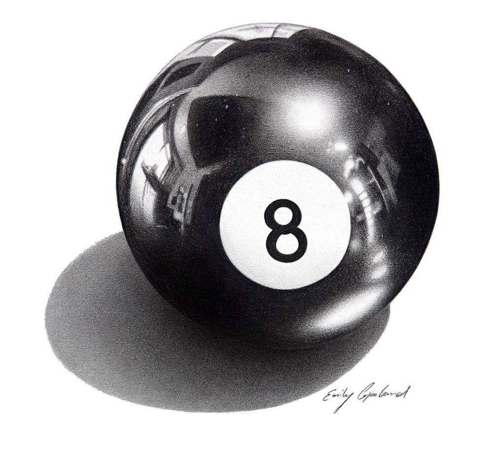 Charcoal Drawing of an 8 Ball