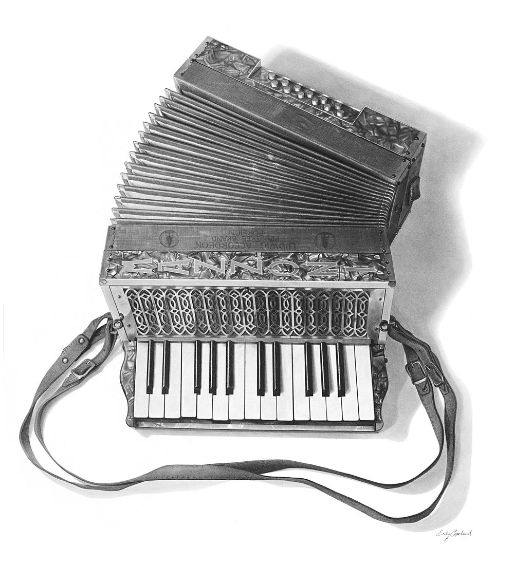 Charcoal Drawing of a 1920's Mazzoni Accordion