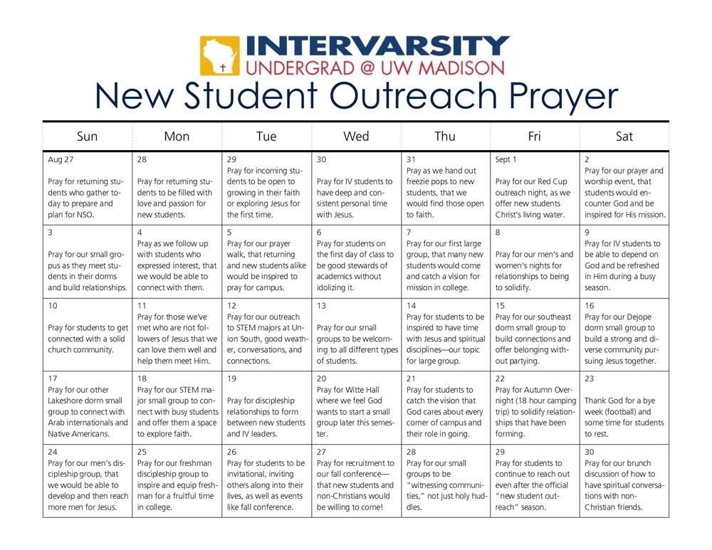 NSO Prayer Calendar