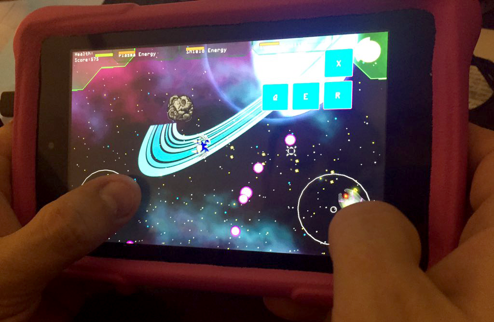 Zero G Fighter running on a Kindle Fire.