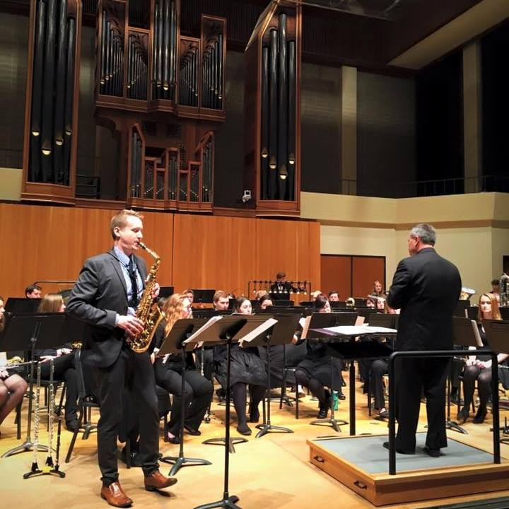 Performing with UWEC Wind Symphony at the 2016 CBDNA conference in Ames, IA