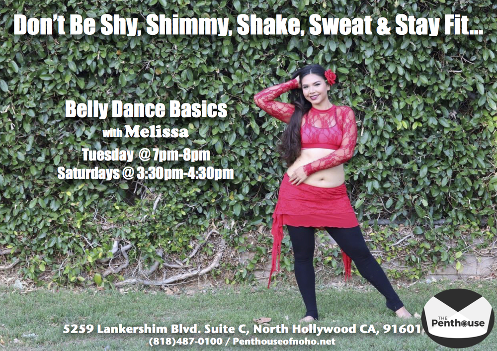 Belly Dance Fitness with Melissa: Belly Dance Basics is perfect for the beginner who wants to learn belly dance. In this class, students will learn the fundamentals of belly dance through technique breakdowns, drills, and short combinations for isolated, sensual, and organic movement. Be ready to shimmy, sweat, stay fit, and have fun with Melissa. DROP IN $16