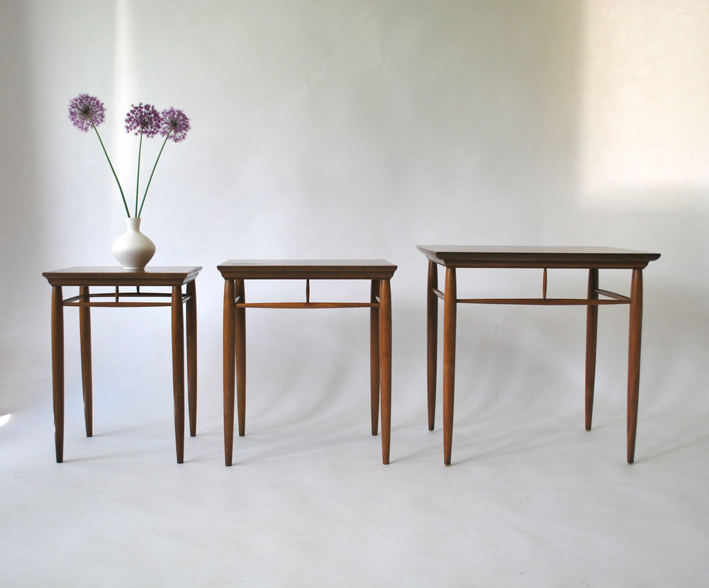 1950s Mid Century Heritage Henredon Nesting Tables   Walnut   SOLD