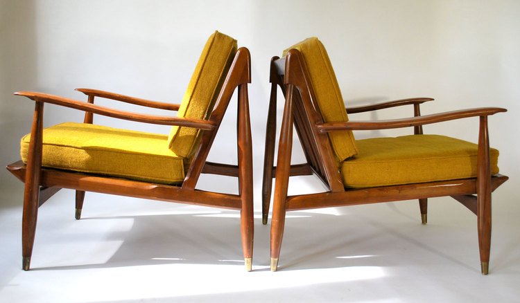 Pair Mid Century Danish Modern Lounge Chairs Sold Vintage Modern