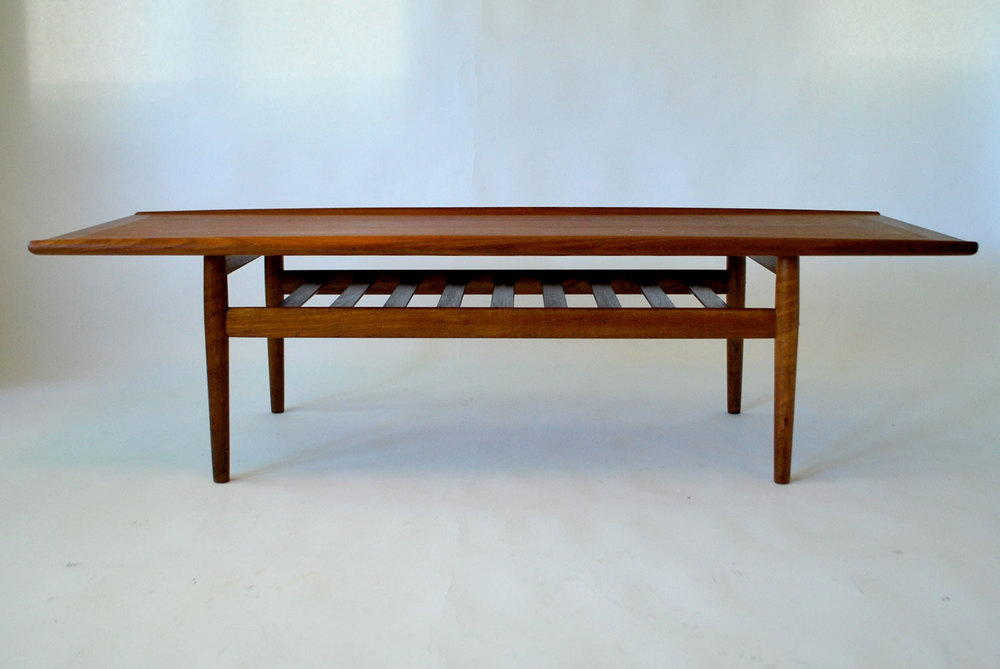 Superb Mid Century Teak Surfboard Coffee Table By Grete Jalk, Denmark   SOLD