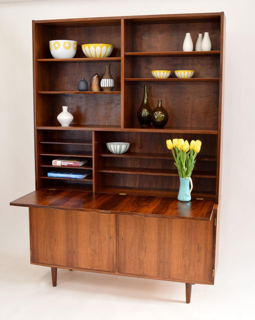 Danish Rosewood 2 Piece Secretary Desk, Server/bar, Bookshelf By Hundevad U0026  Co.   SOLD