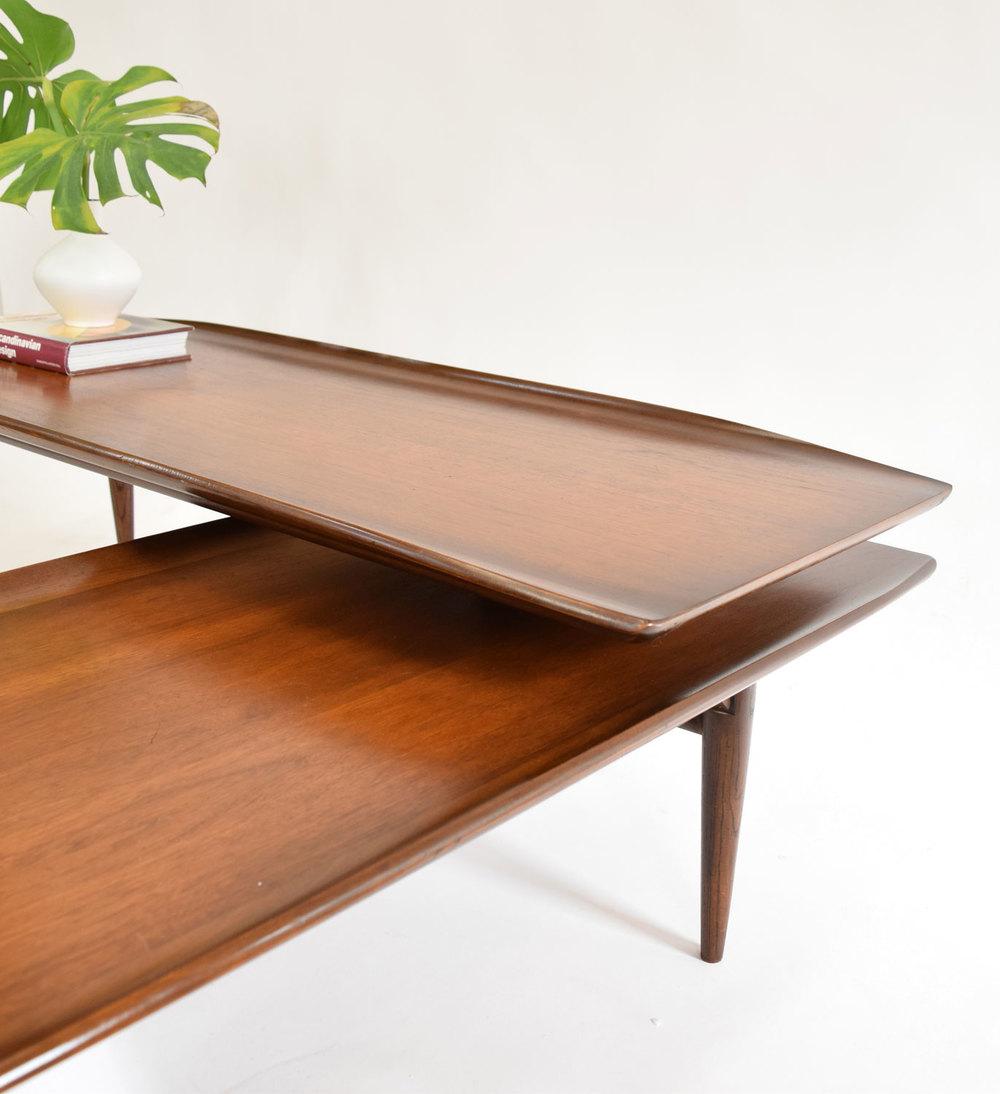 "Bassett Walnut Surfboard Coffee Table: Mid-Century ""Surfboard"" Swivel Coffee Table In Walnut"