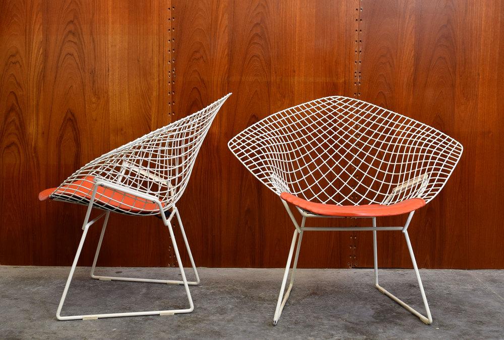 Pair Of Iconic Knoll Bertoia Diamond Chairs With Original Seat Pads   SOLD  U2014 Vintage Modern Maine