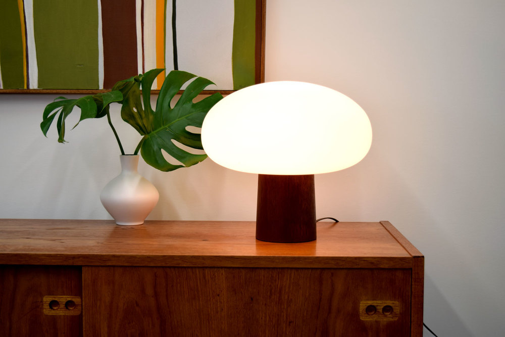 Laurel Lamp Company Teak And Frosted Glass Mushroom Lamp   SOLD