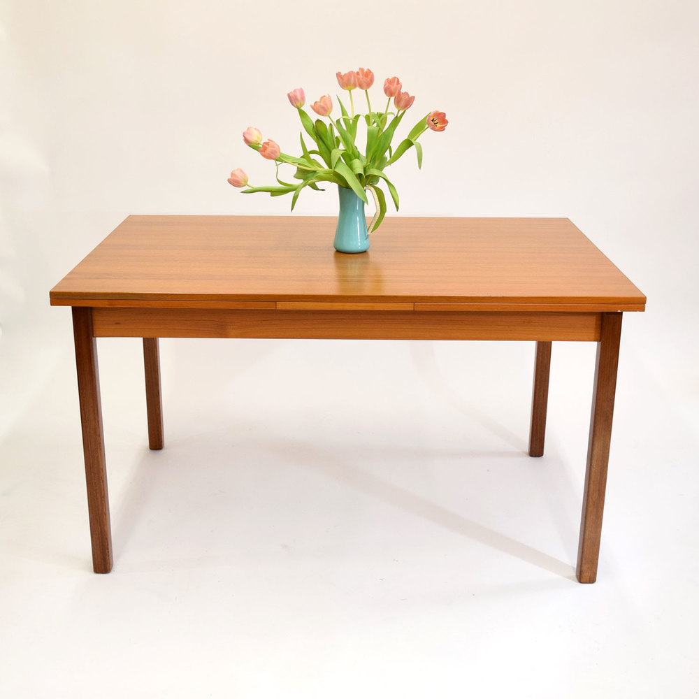Danish Teak Dining Table With Pull Out Leaves   SOLD